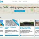 Tela inicial do Citizinvestor, uma plataforma de crowdfunding para projetos comunitários