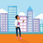 Ilustração de homem tirando uma selfie com o celular na cidade