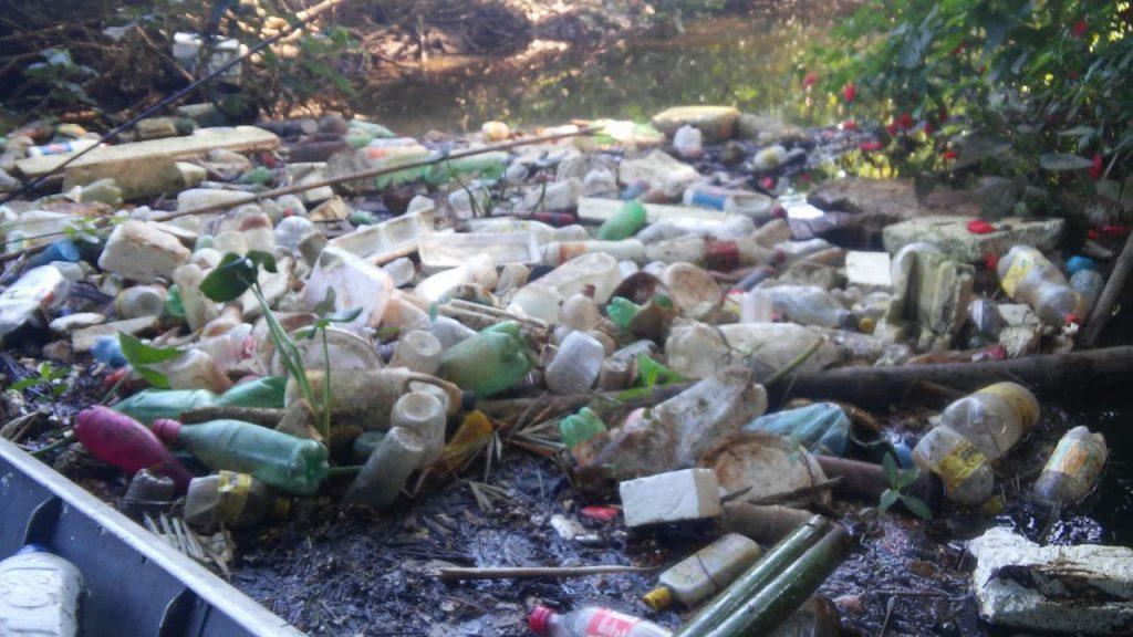 Garrafas de plástico encontradas dentro do rio Tavares, em Ubatuba